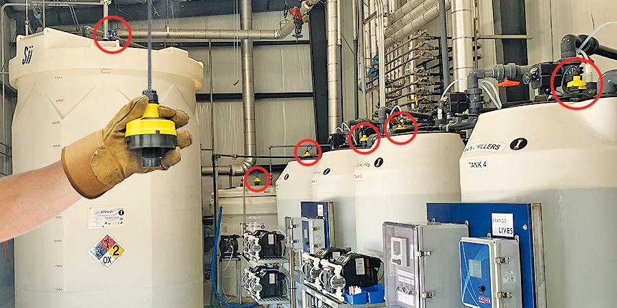 Food Sanitizer Chemical Feed Tank Ultrasonic Liquid Level Sensor